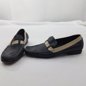 Cole Haan Country Size 10 B Loafers Black White Le